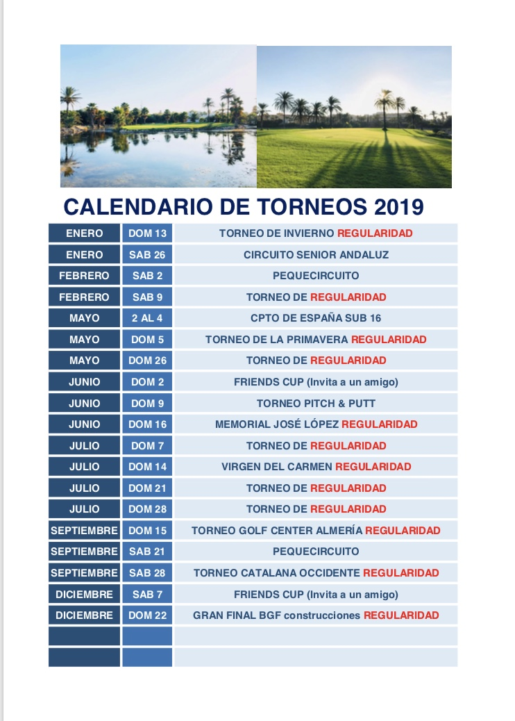 Almerimar Golf Competitions 2019