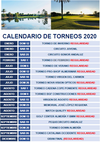 2020 Almerimar Golf Events Issued 19 June 2020