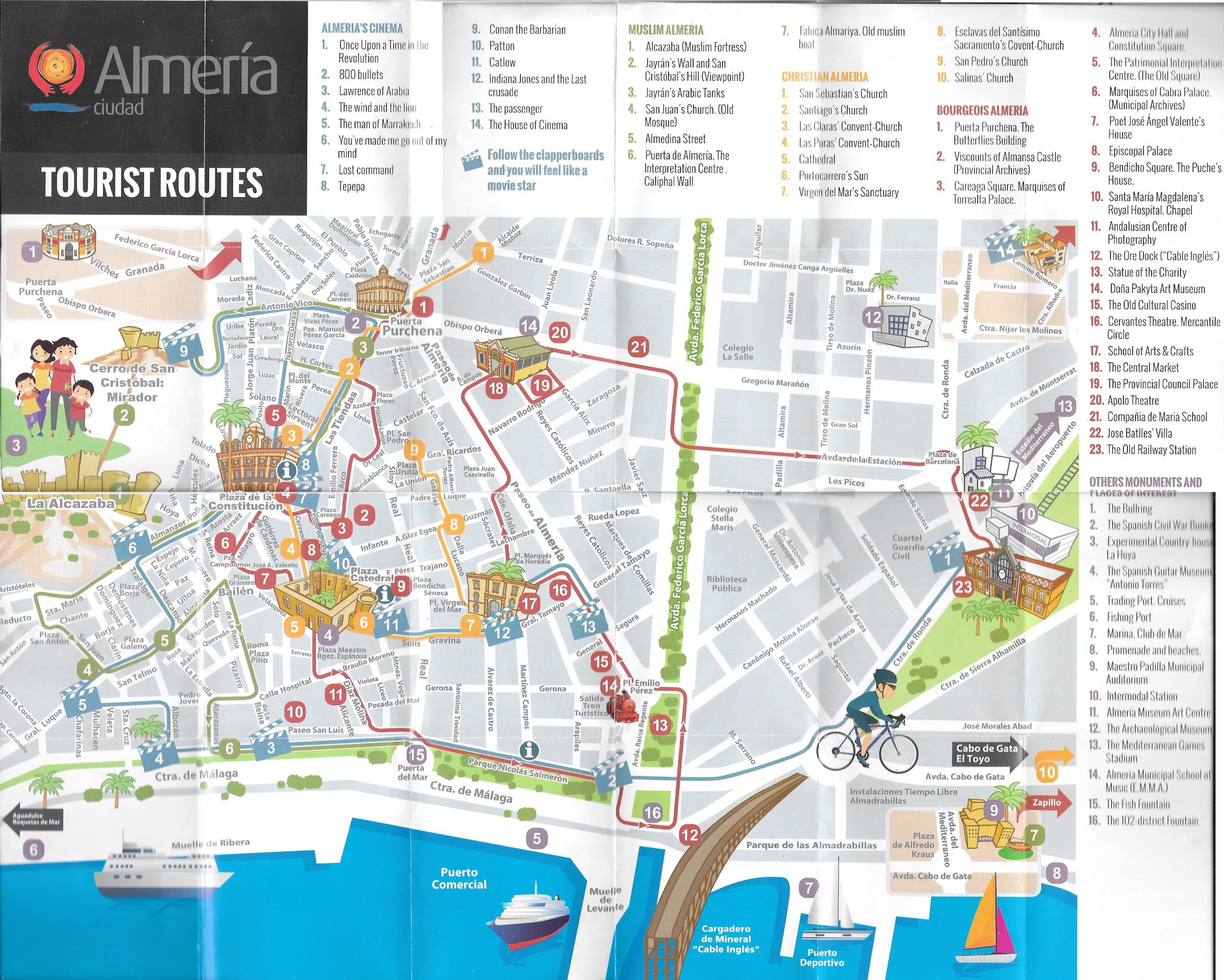 Almería tourist attractions map