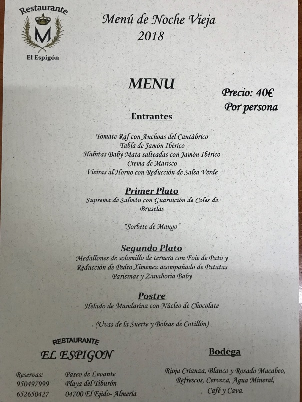 El Espigon New Year's Eve Menu 2017/2018